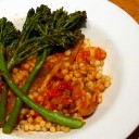 Fregola Sarda with Seasonal Vegetables and Sun-Dried Tomatoes