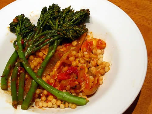 Fregola Sarda with Vegetables and Sun-Dried Tomatoes