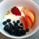 Müesli, Kefir, and Fruit for Breakfast