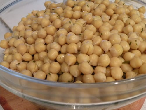 Cooked, Herbed Chickpeas