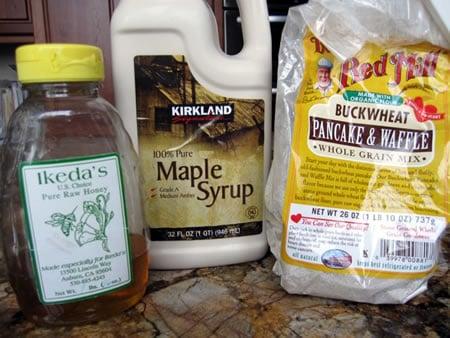 Pancake Mix, Maple Syrup, and Honey