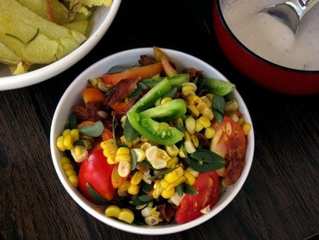 Purslane Tomato Corn Salad