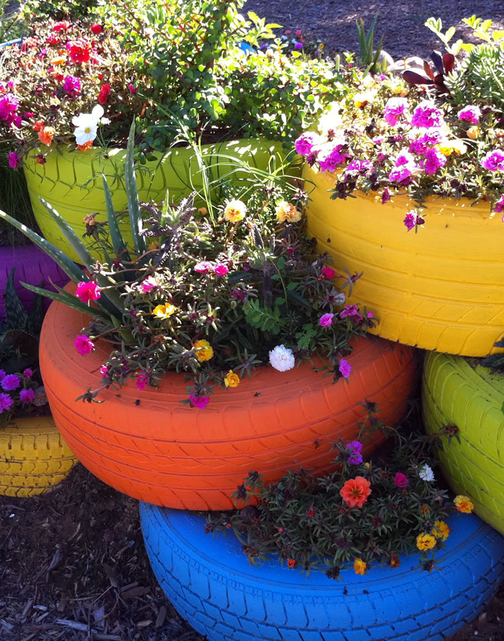 Colorful Garden Planter with Painted Tires