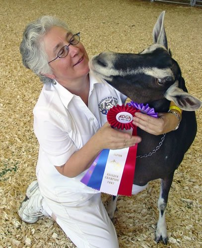 Jennifer Bice with Goat