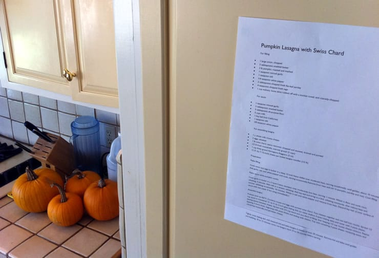 Pumpkin Lasagna with Swiss Chard Recipe on the Fridge