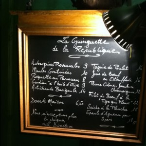 French menu board