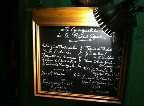 French menu board