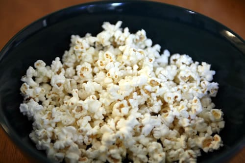 Freshly popped, fat-free microwave popcorn