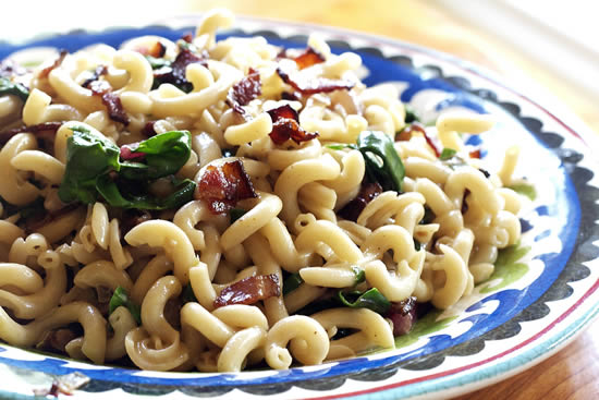 Fusilli Pasta with Bacon and Swiss Chard