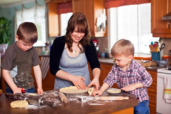 Aimee Wimbush-Bourque, cooking with her kids