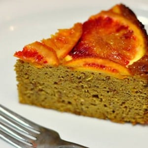 Slice of Blood Orange Almond Upside-Down Cake