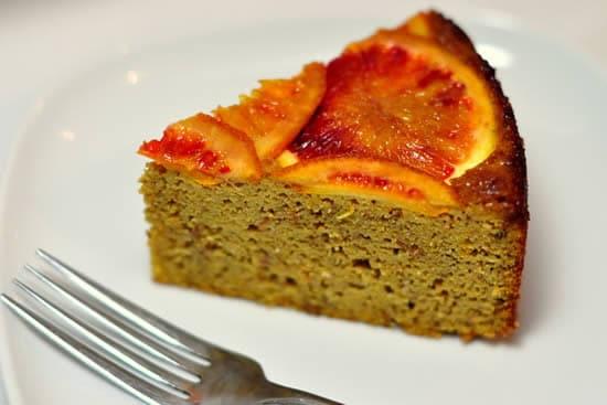 Slice of Blood Orange Almond Upside-Down Cake