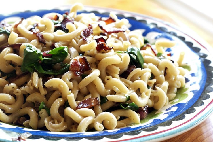 Fusilli Pasta with Chard and Bacon