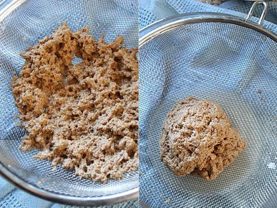 How To Make Seitan: Strain the dough