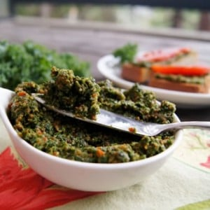 Kale Pesto with Pecans and Roasted Red Peppers