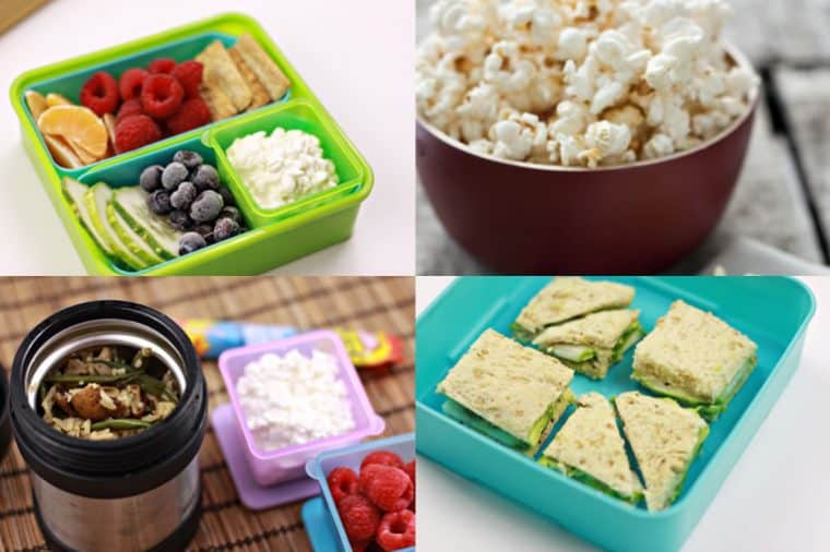 Images of school lunches - fresh fruit and cottage cheese, popcorn, sandwiches