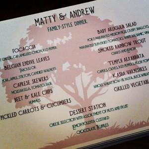 Matty and Andrew's Wedding Menu