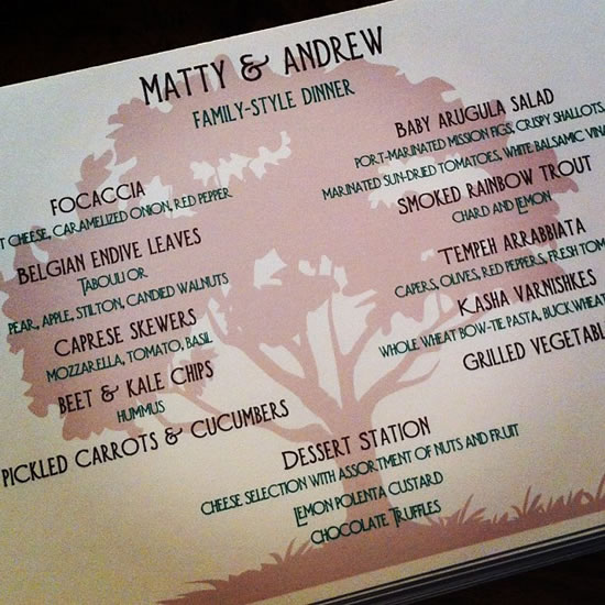 Matty and Andrew's Wedding Menu