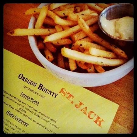 Oregon Bounty menu at St. Jack