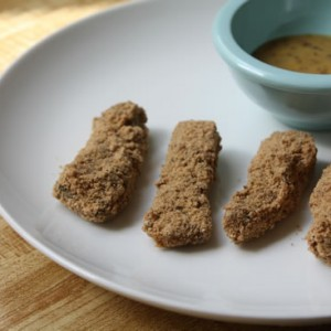 Buckwheat & Hemp Fish Sticks with Maple Mustard Sauce, via eatingrules.com