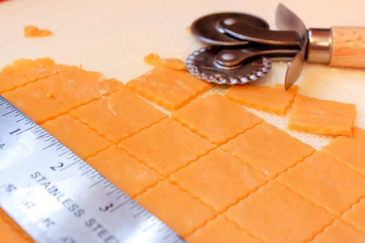 Cutting the Homemade Whole-Grain Cheez-Its