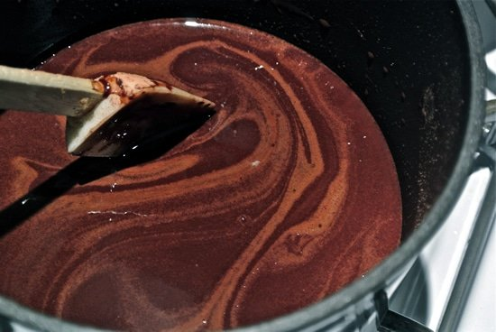 Homemade Chocolate Stirring
