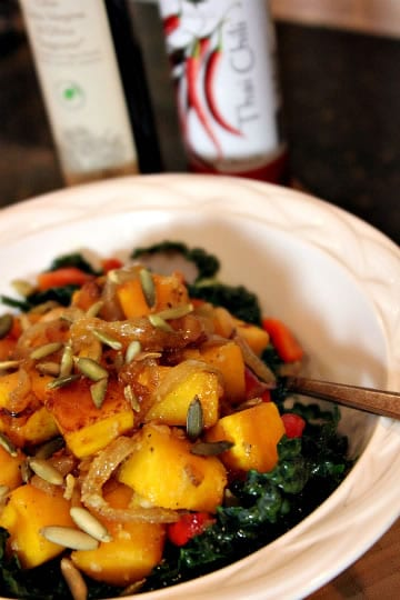 Wilted Kale, Caramelized Squash, and Onion Salad