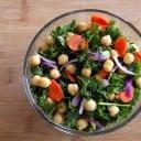 Raw Kale & Garbanzo Salad with Spicy Citrus Vinaigrette