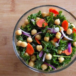 Raw Kale & Garbanzo Salad with Spicy Citrus Vinaigrette