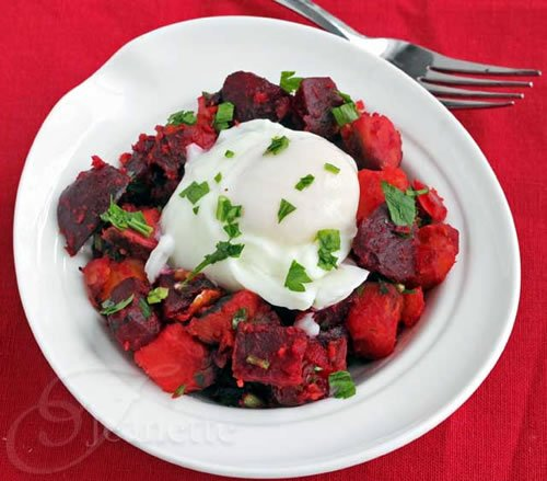 Roasted Beet and Sweet Potato Hash with Egg