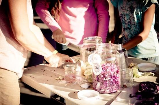 Students making sauerkraut