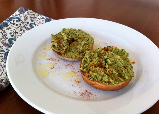 Kale Hummus on mini whole wheat bagel