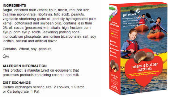 Girl Scout Cookies Ingredients List