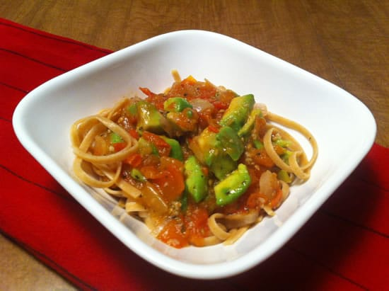 Fettucine with Tomato Avocado Sauce