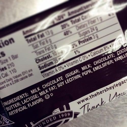 Hershey's Milk Chocolate Ingredients List