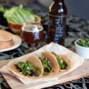 Blonde Ale Portobello Tacos with Chimichurri Sauce