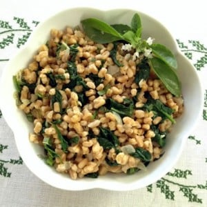 Farro with Spinach, Basil, Lemon, and Pinenuts