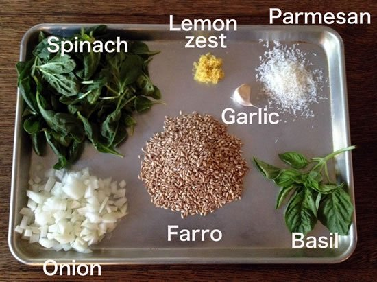 Farrow with Spinach, Basil, Lemon, and Pine Nuts