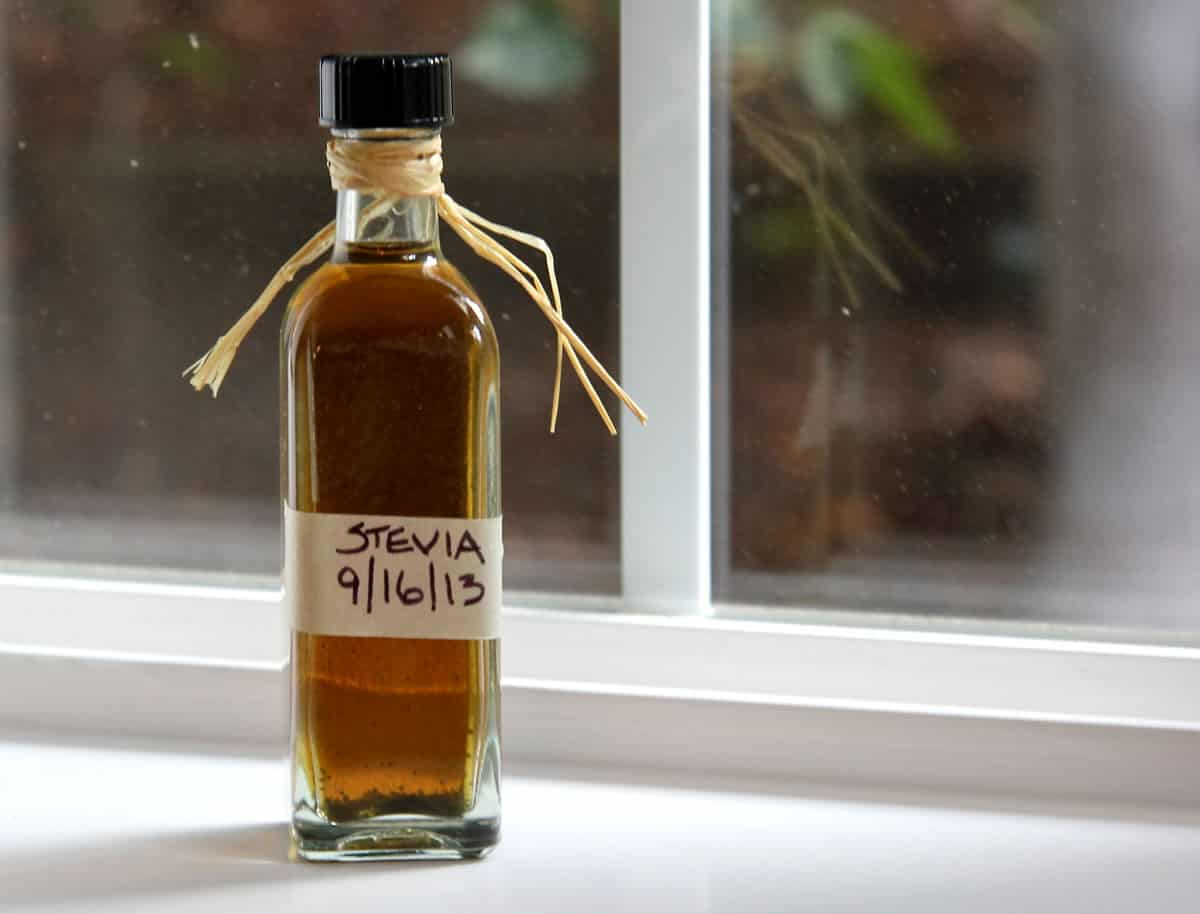 Bottle of stevia extract sitting on a window sill