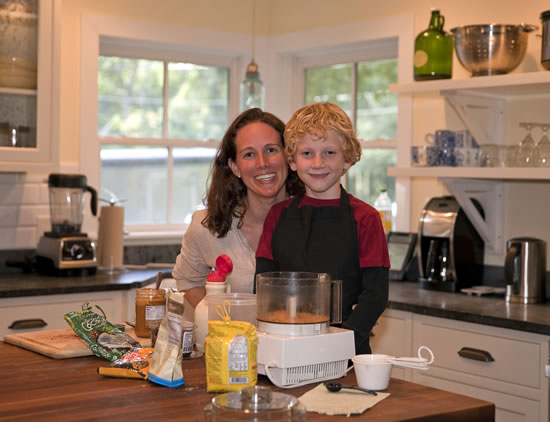 Krista and Finn making Energy Balls