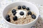 """The Dr.'s Orders"" - Oatmeal with Flaxseed Meal, Greek Yogurt, and Blueberries"