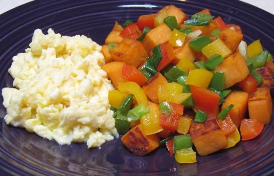 Scrambled Eggs and Sweet Potato Hash