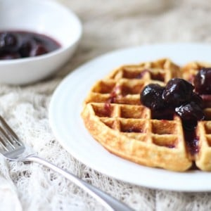Sorghum, Honey, and Cornmeal Waffles with Two-Ingredient Syrup