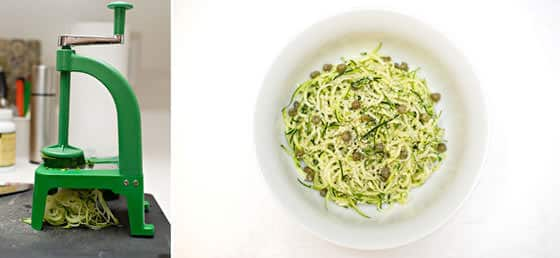 Making Zucchini Pesto Noodles
