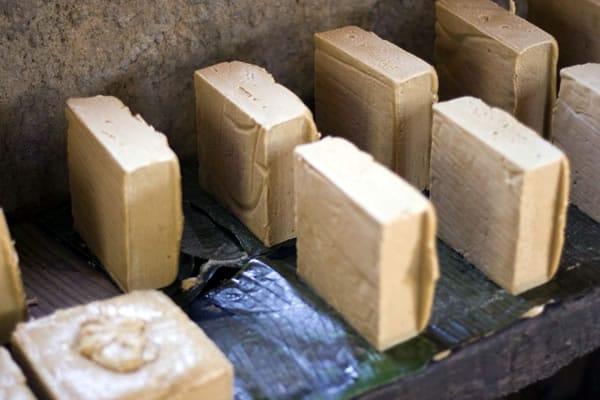 Blocks of rapadura sugar ready for packaging