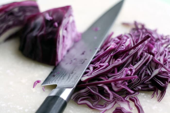 Slicing cabbage for Tofu Tacos