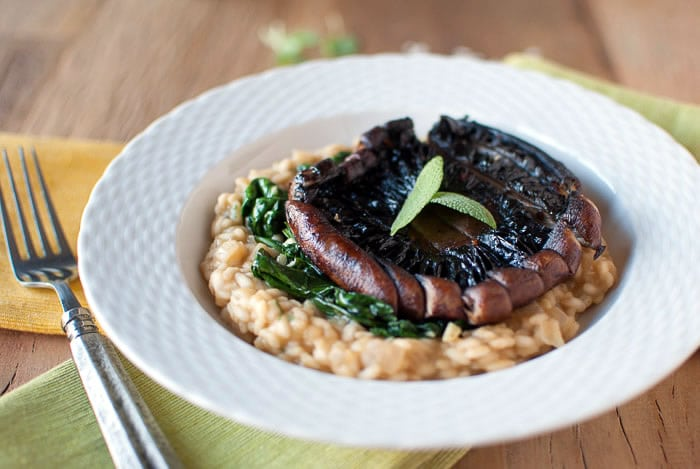 Portobello Mushrooms with Acorn Squash Risotto