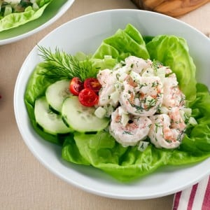 Shrimp Salad with Cucumber, Dill, and Lactose-Free Cream Cheese