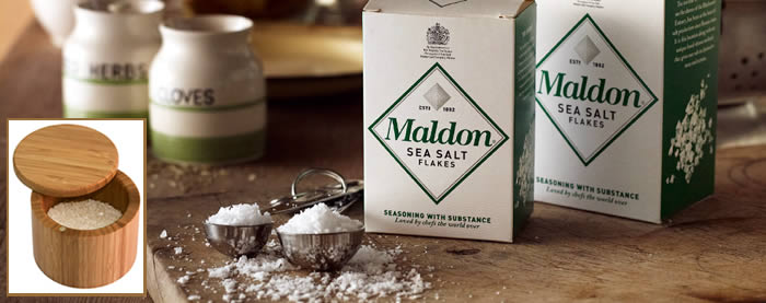 Maldon Sea Salt Flakes with Bamboo Salt Cellar