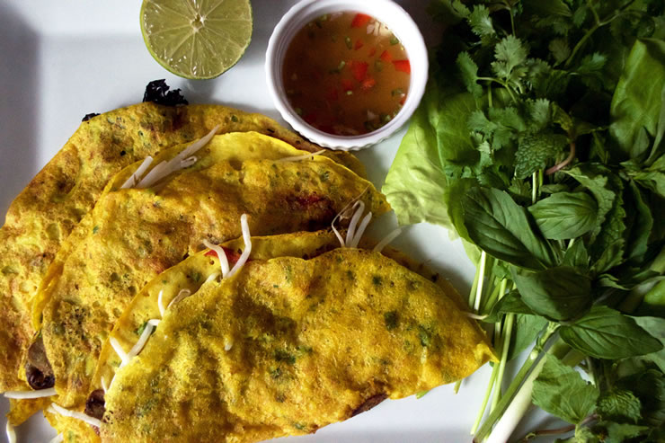 Banh Xeo – Crispy Vietnamese Crepes with Sautéed Kale and Mushrooms